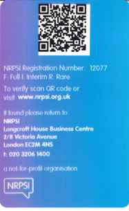 QR Code example NRPSI ID Card